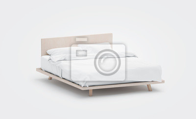 Sticker Blank white bed with pillows mockup, side view, isolated, 3d rendering. Empty bedclothes mock up. Clear blanket in bedstead. Doublebed with mattress and bedsheet. Doss with pilows and duvet.