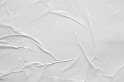 Sticker Blank white crumpled and creased paper poster texture background