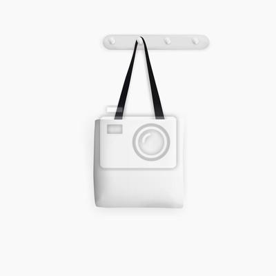 Blank white Tote Bag on white background