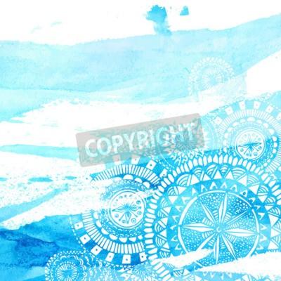 Sticker Blaue Aquarell Pinselstriche mit weißen Hand gezeichneten Mandalas - runde doodle indischen Elemente. Vector Sommer-Design.