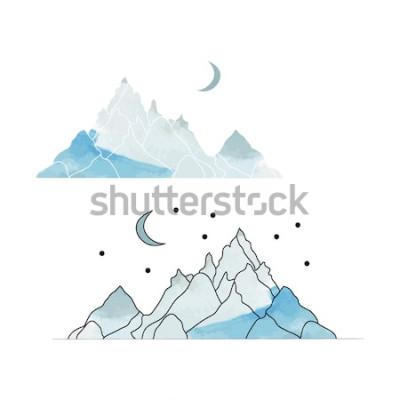 Sticker Blaue Berge. Zeichnung einer Landschaft im Stil des Aquarells. Vektor-illustration