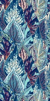 Sticker Blaue Blatt-Vektor-nahtlose Illustration