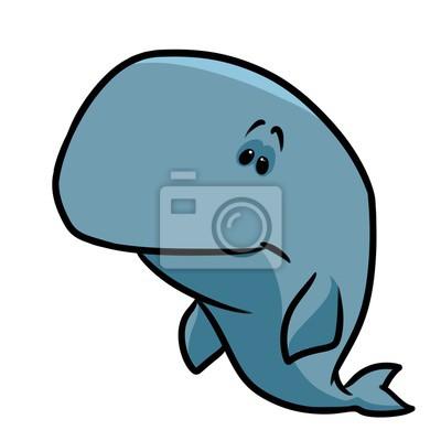 Blaue Wal-Cartoon-Illustration isoliert Bild