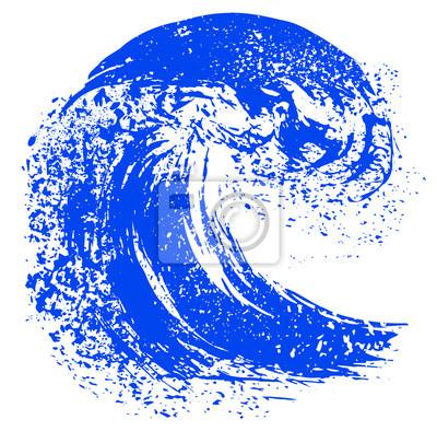 Blauen Pinselstrich mit Textur. Grunge Welle Tinte Linie. Logo-Symbol. Vektor
