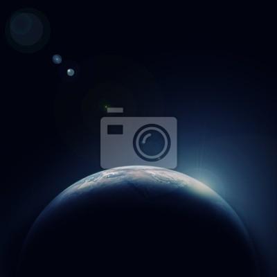 Blauen Planeten Erde im Weltraum mit Stern