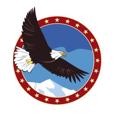 Blauer Hintergrund des blauen Emblems des Adlers. Vektorzeichnung