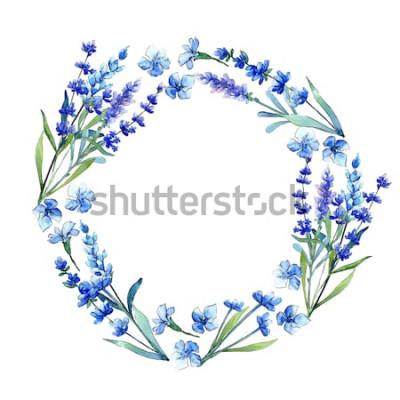 Sticker Blauer Lavendel. Botanische mit Blumenblume Wilder Frühlingsblatt Wildflowerrahmen in einer Aquarellart. Aquarellwildflower für Hintergrund, Beschaffenheit, Verpackungsmuster, Rahmen oder Grenze.