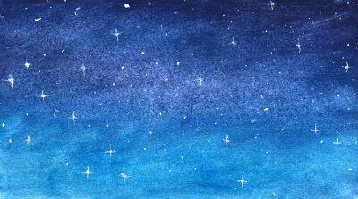 Sticker Blauer sternenklarer Himmel im Aquarell