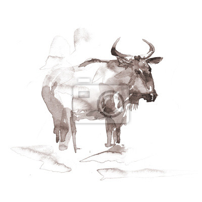 Blauer Wildebeest. Aquarell-Illustration auf weißem Hintergrund.