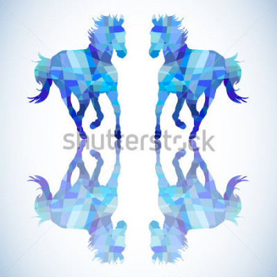 Sticker Blaues abstraktes Pferd von geometrischen Formen