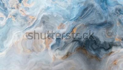 Sticker Blaues Marmormuster mit Einschlüssen in Grau und Gold. Abstrakte Textur und Hintergrund. 2D-Darstellung
