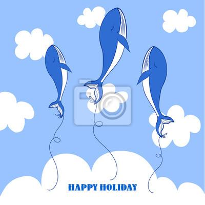 Blauwalkarikaturillustration lokalisiert auf Hintergrund des blauen Himmels, Ballon in den Wolken, vector buntes Gekritzeltier, Charakterdesign für Grußkarte, Kindereinladung, Babyparty, Feiertagsrahm