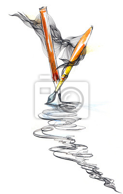 Bleistift und Pinsel