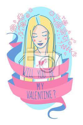 """Blondie langhaariges Mädchen buntes Porträt mit Text """"Wirst du mein Valentinsgruß?"""" Auf dem rosa Band und floralen dekorativen Elementen."""