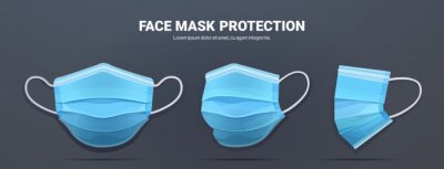 Sticker blue antiviral medical face mask protection against coronavirus prevention of virus spreading pandemic covid-19 view from different angles copy space horizontal vector illustration