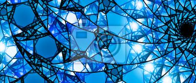 Sticker Blue glühende Glasmalerei 8k Widescreen Hintergrund