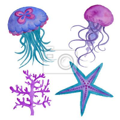 Blue Jellyfish Aquarell Illustration isoliert auf den weißen Ozean Wasser Sea Star Fisch Coral