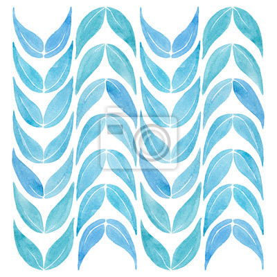 blue leaves watercolor illustration isolated on white