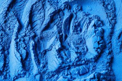 Sticker Blue spirulina powder. Concept dieting, detox, healthy superfood, which contains protein. Healthy dietary supplement.