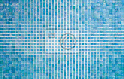 Sticker blue tile wall background