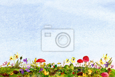 blue watercolor ombre wash background texture with colorful woodland flowers, leaves, mushrooms