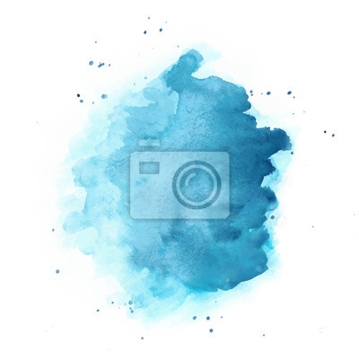 Sticker Blue Watercolor Vector Background. Round Stain Isolated on White.