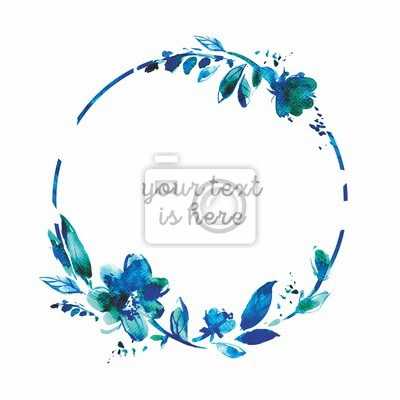 Blue watercolor wreath with flowers and leaves on a white background. Round floral frame for birthday cards, wedding invitation. Cute hand painting illustration.