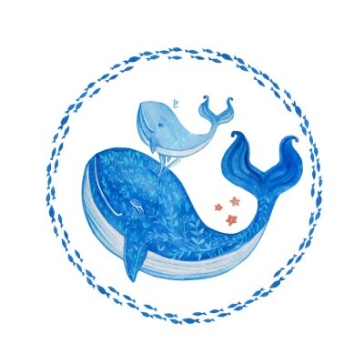 Blue Whale cartoon illustration isolated on white backdrop, watercolor doodle animal, round frame fish, decorative hand drawn wreath, Character design for travel card, children invitation, baby shower