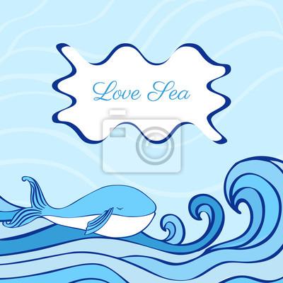 Blue Whale Cartoon Illustration isoliert auf dekorative Welle Hintergrund, Vektor-Grafik bunte Doodle Tier, Charakter Design für Grußkarte, Kinder einladen, Baby-Dusche, die Schaffung von Alphabet