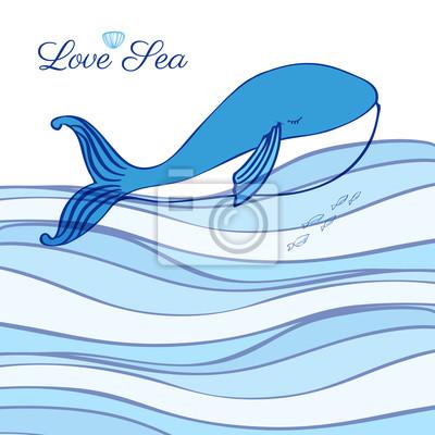 Blue Whale Cartoon Illustration isoliert auf dekorative Welle Hintergrund, Vektor-Grafik bunte Doodle Tier, Charakter Design für Grußkarte, Kinder Einladung, Baby-Dusche, Reise-Postkarte