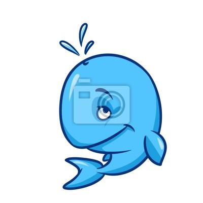 Blue whale cartoon illustration isoliert bild tierischen charakter