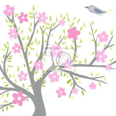 Blühender Baum mit einem Vogel