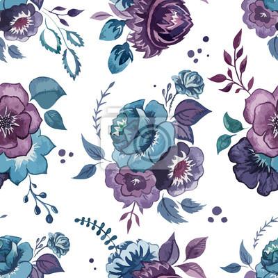 Blumen, Aquarell, Muster, Tapeten, Textilien