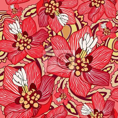 Sticker Blumenbeschaffenheit. Nahtlose Blumenmuster. Flourish Hintergrund