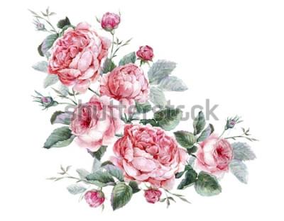Sticker Blumengrußkarte der klassischen Weinlese, Aquarellblumenstrauß von englischen Rosen, schöne Aquarellillustration
