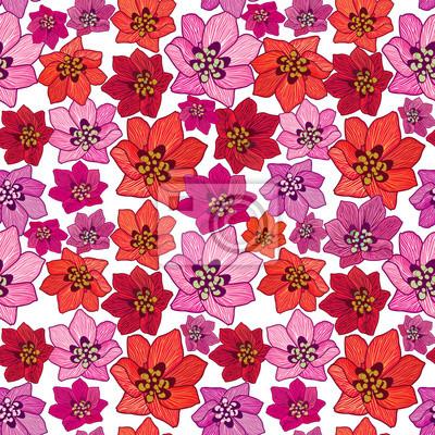 Sticker Blumenhintergrund Blumenmuster Floral nahtlose Textur Blumen