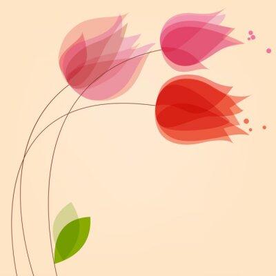 Sticker Blumenhintergrund mit Tulpen