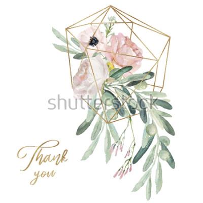 Sticker Blumenillustration des Aquarellolea - Ölzweig, erröten Blumenblumenstrauß mit Goldgeometrischer Form, für die Heirat stationär, Grüße, Tapeten, Mode, Hintergrund.