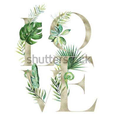 Sticker Blumenillustration des tropischen exotischen Aquarells - LIEBES-Anordnungsfahne mit Goldbeschaffenheitsbuchstaben, für die Heirat stationär, Grüße, Tapeten, Mode, Hintergrund. Palm, Farn, Banane, grün