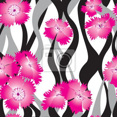 Sticker Blumenmuster. Floral nahtlosen Hintergrund. Wellenbeschaffenheit