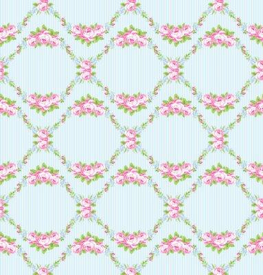 Sticker Blumenmuster mit Garten rosa Rosen