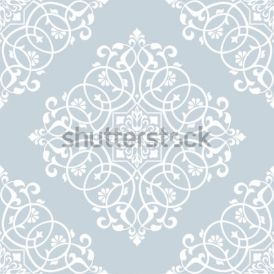 Sticker Blumenmuster. Tapete Barock, Damast. Nahtloser Vektor Hintergrund. Blaue und weiße Verzierung.