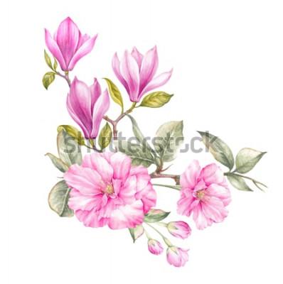 Sticker Blumenstrauß aus Magnolien. Einladungskarte für Hochzeit, Geburtstag und andere Urlaub und Sommer Hintergrund. Botanische Illustration.