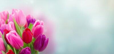 Sticker Blumenstrauß aus rosa und lila Tulpen