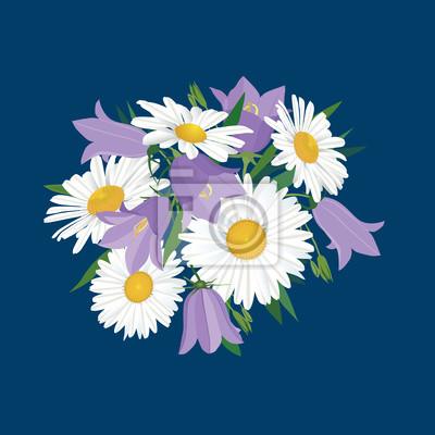 Sticker Blumenstrauß der Glocken und Gänseblümchen, Wildblumen