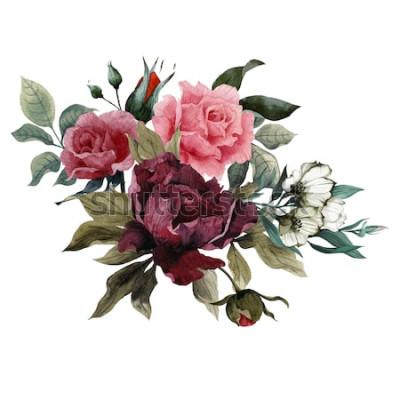 Sticker Blumenstrauß von Rosen, von Pfingstrosen und von Eustoma, Aquarell, kann als Grußkarte, Einladungskarte für die Heirat, Geburtstag und anderer Feiertags- und Sommerhintergrund verwendet werden