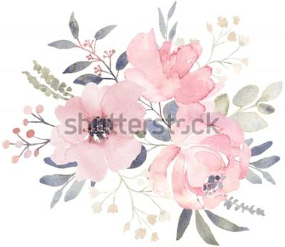 Sticker Blumenstraußzusammensetzung verziert mit staubigen rosa Aquarellblumen und dem Eukalyptusgrün