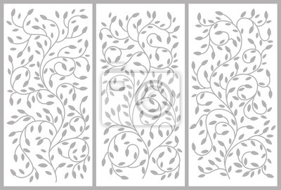 Blumenverzierung für einen Schrank, Trennwände, Türen, Möbel. Biegen von wachsenden Ästen und Blättern. Vektorzeichnung