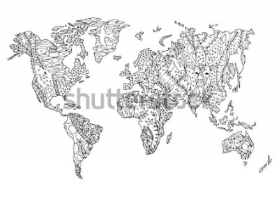 Sticker Blumenzeichnungsdesignvektor-Illustrationshand der wild lebenden Tiere der Weltkarte tierische gezeichnet