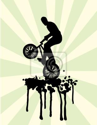 Bmx Sprung auf Spritzen in schwarz und grün Vektor-Illustration